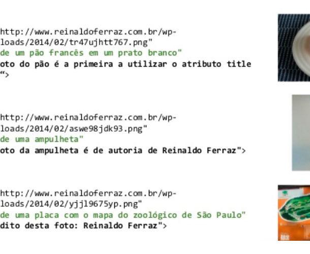 Imagem com o código de três imagens e seus respectivos atributos para descrição preenchidos