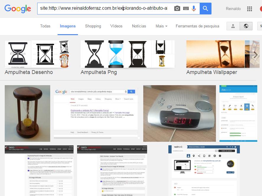 Captura de tela do resultado da busca por imagem pela palavra ampulheta. O resultado traz a foto da ampulheta em primeiro lugar