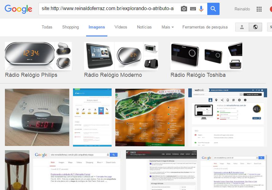Captura de tela do resultado da busca por imagem pela palavra rádio relógio. O resultado traz a foto do rádio relógio em primeiro lugar