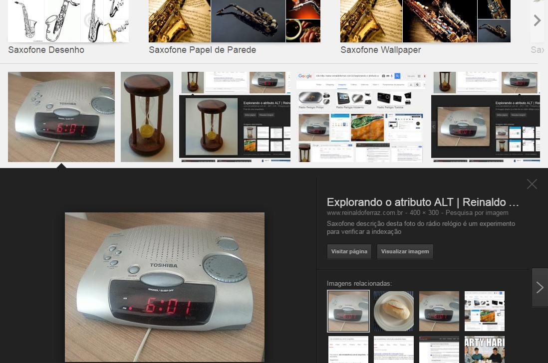 Detalhe da busca por imagem por saxofone. A imagem mostra o detalhe ao clicar na imagem, que traz a informação do atributo alt da imagem