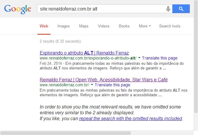 Resultado da busca do google pelo nome do site