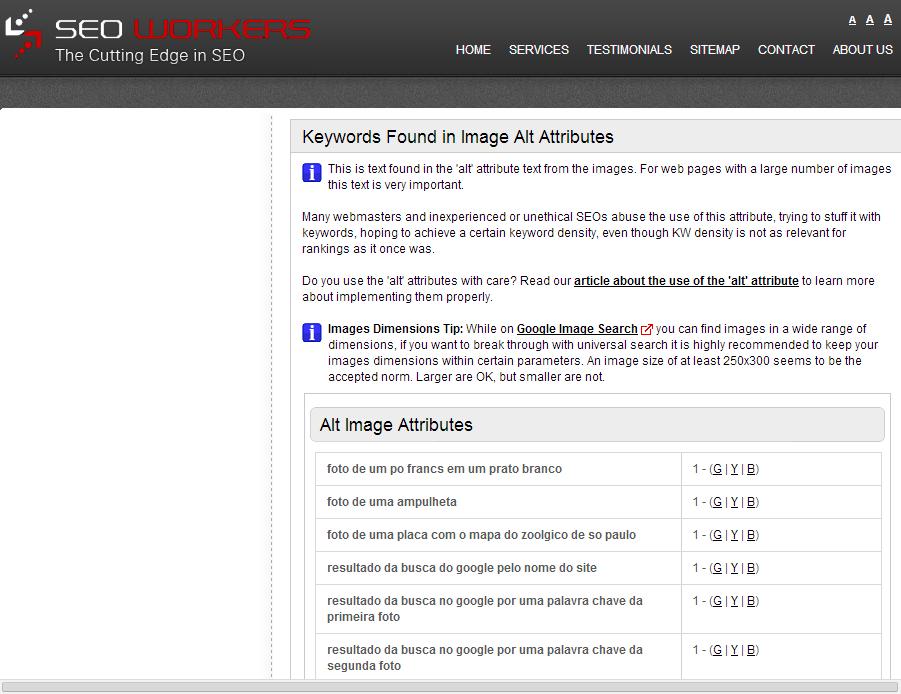 A verificação mostra as palavras chave encontradas dentro do atributo ALT e possibilita que o usuário as teste em ferramentas de busca
