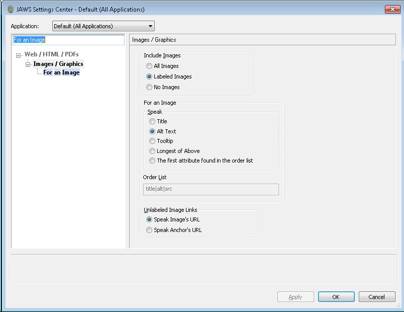 Imagem da tela de configuração do leitor de tela JAWS mostrando as configurações para imagens no HTML