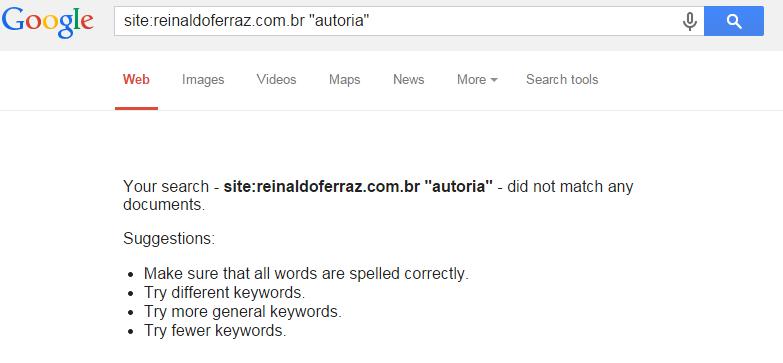 Imagem apresentando o resultado de busca no site reinaldoferraz.com.br da palavra autoria no buscador Google