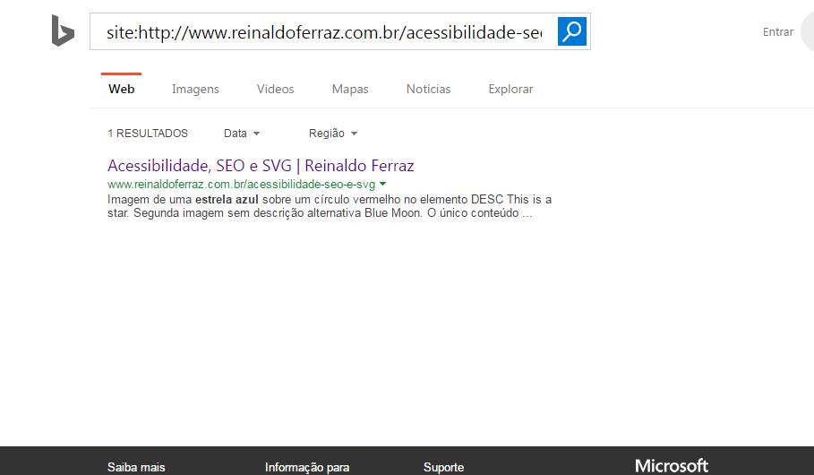 """Imagem do resultado da busca no Bing pelo termo """"estrela azul"""". O resultado traz o conteúdo dos elementos DESC e TEXT"""
