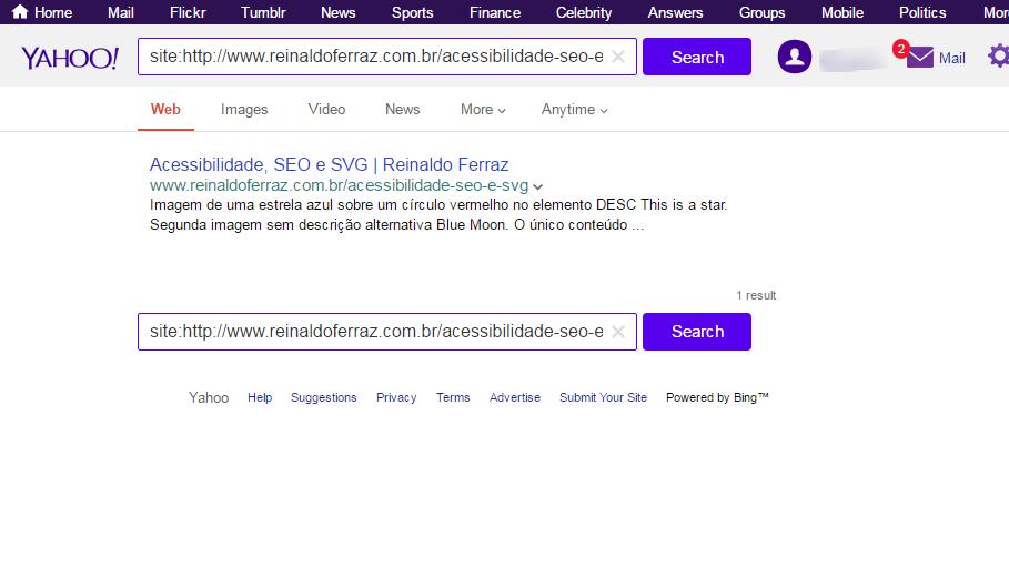 """Imagem do resultado da busca no Yahoo pelo termo """"estrela azul"""". O resultado traz o conteúdo dos elementos DESC e TEXT"""