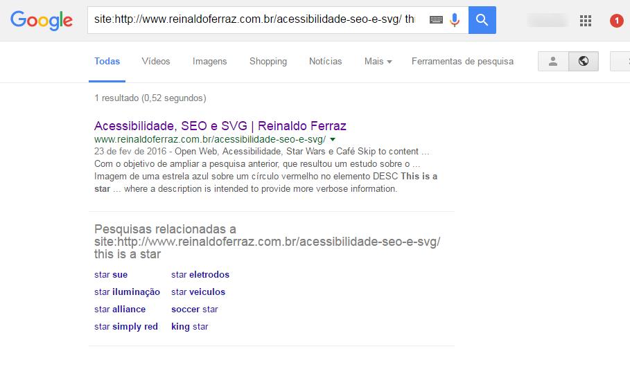 """Imagem do resultado da busca no Google pelo termo """"estrela azul"""". O resultado traz o conteúdo dos elementos DESC e TEXT"""