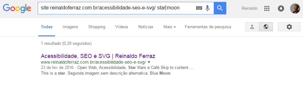 Imagem apresentando o resultado da busca na página. O resultado mostra que os elementos textuais foram indexados pelo Google.
