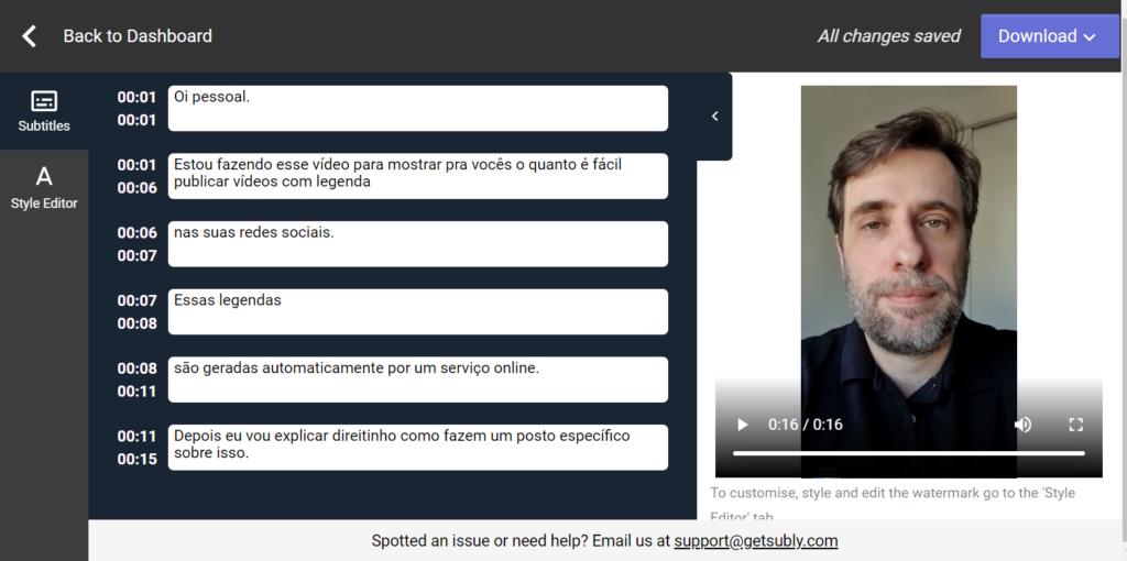 Captura de tela da interface da ferramenta Subly