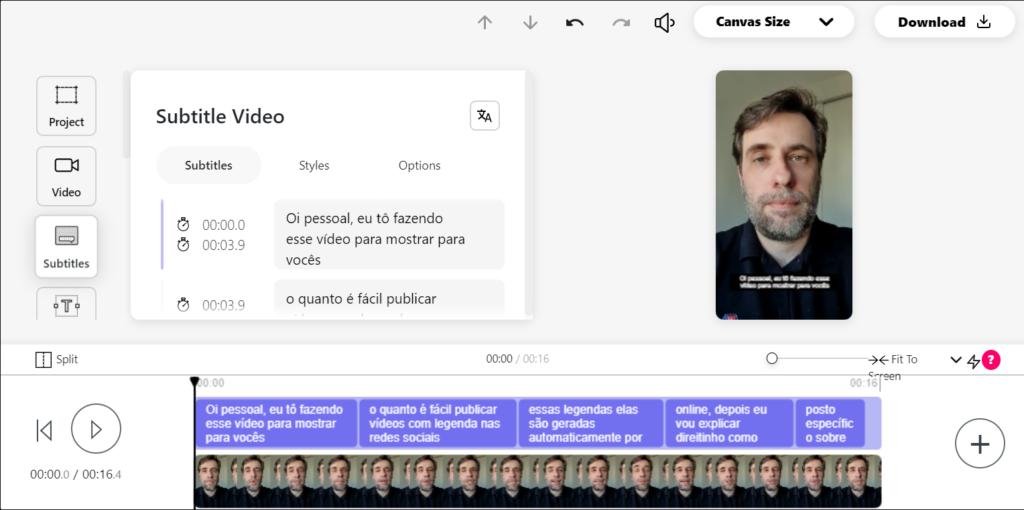 Captura de tela da interface da ferramenta Veed