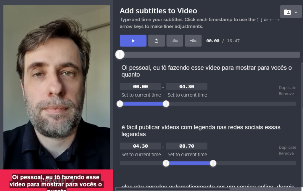 Captura de tela da ferramenta Kapwing Subtitles