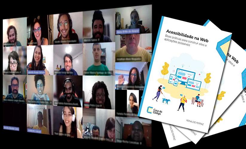 Montagem com a foto dos alunos do curso de design de interfaces acessíveis e três exemplares do meu livro sobre acessibilidade na Web