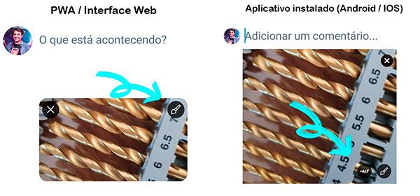 Captura de tela de telas do twitter para upload de fotos. Na primeira a da versão PWA e interface Web, que mostram o ícone de edição no canto superior direito, acompanhado de uma seta. A segunda imagem mostra a versão de aplicativos instalados, android e IOS, com o ícone +alt no canto inferior direito, também apontado com uma seta.