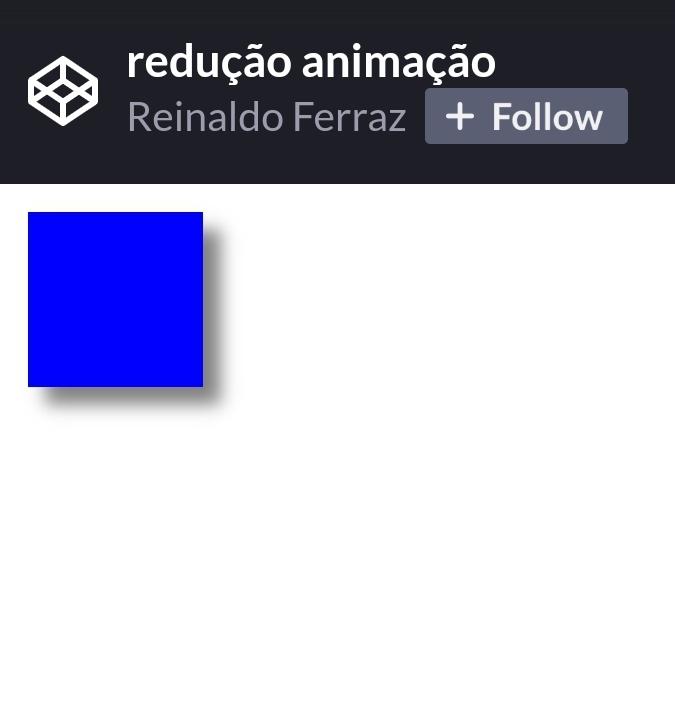 Captura de tela do codepen. Na tela há um quadrado azul parado na tela