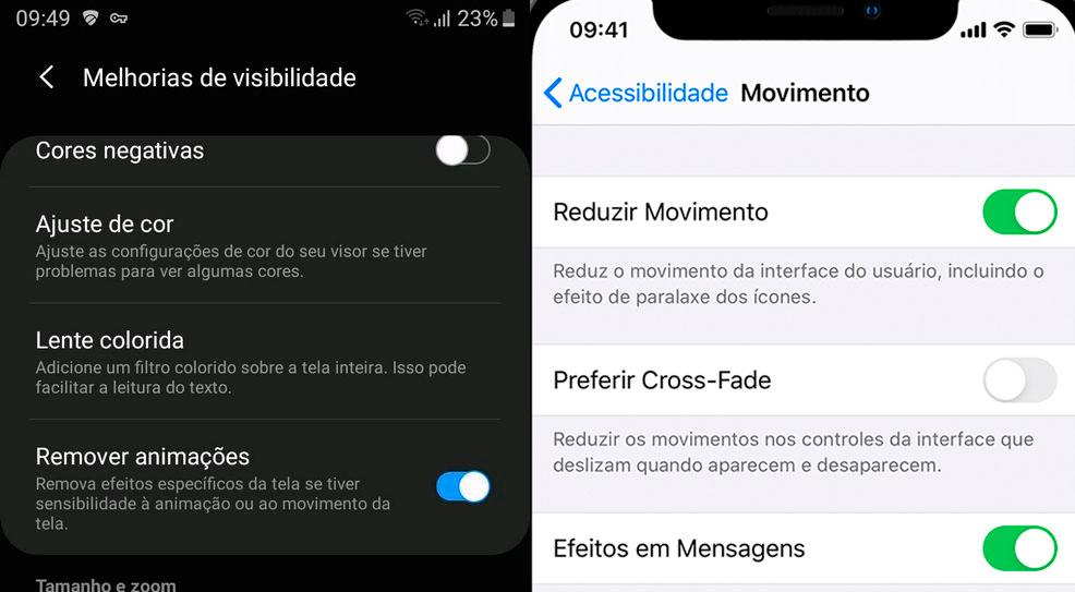 captura de tela de dois celulares, um com sistema android e outro com sistema IOs. Ambos estão na tela de recursos de acessibilidade exibindo o botão de redução de movimento.